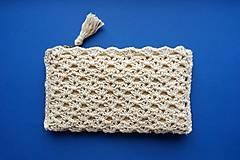 Taštičky - Prírodná béžová kozmetická taška väčšia - 11601781_