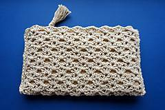 Taštičky - Prírodná béžová kozmetická taška väčšia - 11601782_
