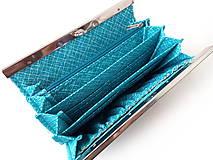 Peňaženky - Peňaženka s priehradkami Tyrkysové lístie na šedej - 11599009_