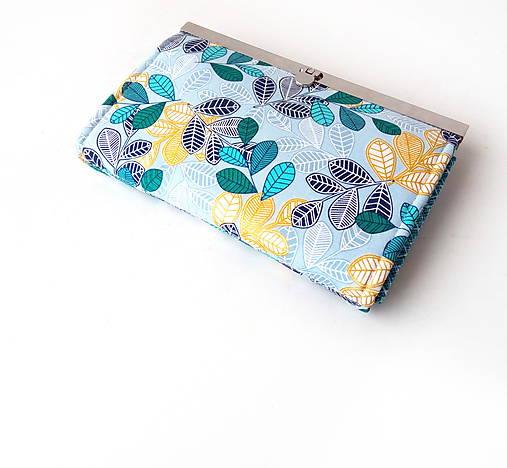 Peňaženka s priehradkami Tyrkysové lístie na šedej