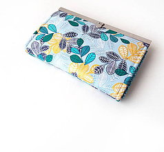 Peňaženky - Peňaženka s priehradkami Tyrkysové lístie na šedej - 11599008_