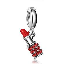 Korálky - Pandorková korálka rúž so štrasovými kamienkami - 11600758_