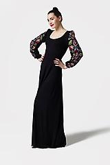 Šaty dlhé Joy čierne s vyšívanými rukávmi