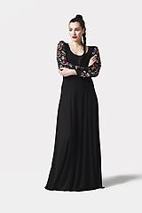 Šaty - Šaty dlhé Joy čierne s vyšívanými rukávmi - 11604424_