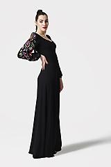 Šaty - Šaty dlhé Joy čierne s vyšívanými rukávmi - 11604430_
