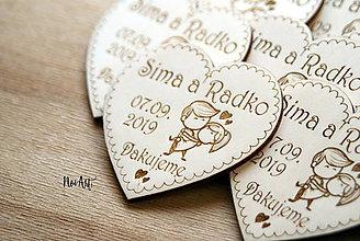 Darčeky pre svadobčanov - Magnetky pre svadobných hostí zaľúbený párik (20-50 kusov) - 11605341_