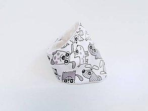 Detské doplnky - Nákrčník biela minky / sivé psíky - 11604601_