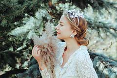 Ozdoby do vlasov - Postriebrený lístočkový venček - Devanka - 11604178_