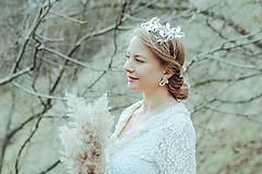 Ozdoby do vlasov - Postriebrený lístočkový venček - Devanka - 11604182_