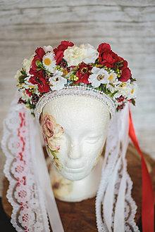 Ozdoby do vlasov - Ľudová kvetinová parta - 11605543_