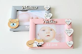 Detské doplnky - Fotorámik s údajmi o narodení - 11602543_
