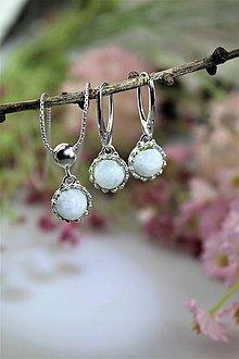 Sady šperkov - mesačný kameň náušnice a prívesok v striebre - set - 11604661_