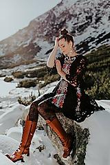 Šaty - Čierne vyšívané šaty Slovenské devy - 11604302_