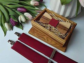 Doplnky - Pánsky drevený motýlik a traky - 11604153_