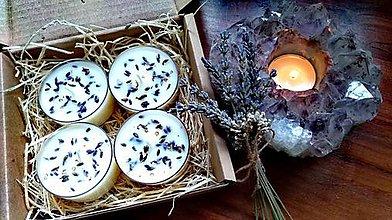 Svietidlá a sviečky - ČAJOVÁ BYLINKOVÁ SVIEČKA - LEVANDUĽA - 11603278_