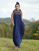 Šaty - Maxi mušelínové tmavě modré puntíčkové - 11604777_