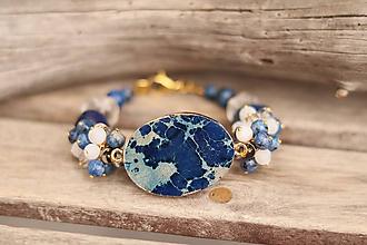 Náramky - Bohemian náramok z minerálov jaspis, achát, krištáľ, lapis  lazuli - 11603508_