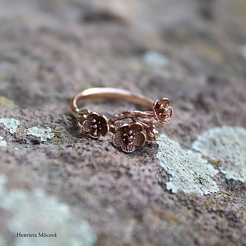 strieborný prsteň - rozkvitnutá slivka
