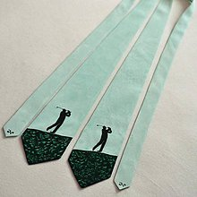 Doplnky - Zelená kravata s golfistou - 11605142_
