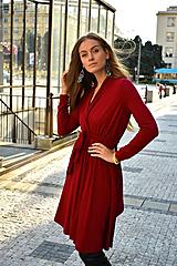 Šaty - APRIL tmavší červená, zavinovací šaty/cardigan - 11606031_