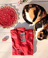Tričká - červené/růžový puntík - 11605709_