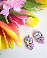 Jarná kytica - soutache earring - ručne šité šujtášové náušnice