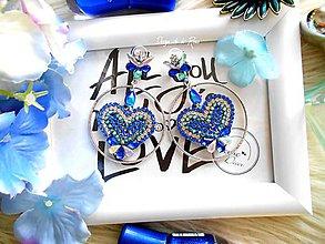 Náušnice - Srdiečkové modré - 11608111_