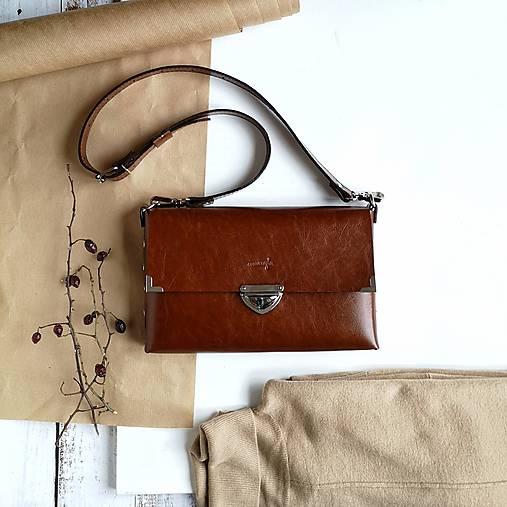 Kabelky - Kožená kabelka MaxiMe (čokoládová hnedá) - 11605859_