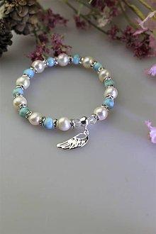 Náramky - larimar a perly náramok luxusný s anjelským krídlom zo striebra - 11608692_