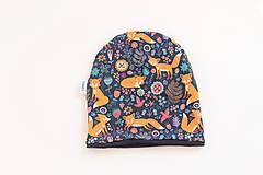 """Detské čiapky - Dvojvrstvová čiapka""""líštička na lúke"""" (nákrčník, na oh: 52-54cm, 4-7rokov) - 11605983_"""