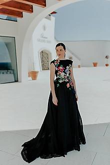 Šaty - čierne šifónové šaty Príbeh víly - 11607091_