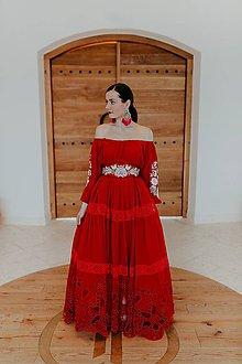Šaty - červené šifónové šaty Poľana - 11607169_