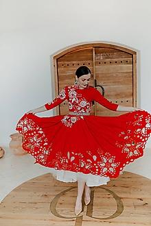 Šaty - červené madeirové šaty Poľana - 11607195_