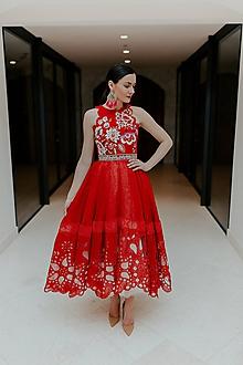Šaty - červené madeirové šaty Poľana - 11607545_