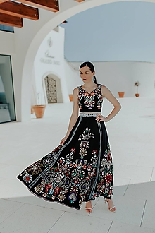 Šaty - vyšívaná sukňa a crop top Slavianka - 11608469_