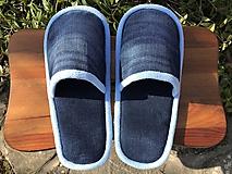 Modré denim papuče s belasým lemom