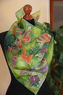 Šatky - Maľovaná s motýľmi... - 11607375_
