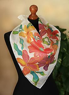 Šatky - Farebné maľované kvety... - 11607668_