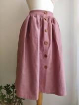Sukne - Ľanová sukňa s vreckami - 11608269_