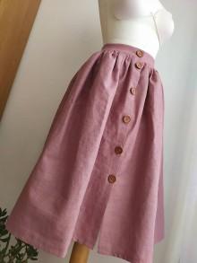 Sukne - Ľanová sukňa s vreckami - 11608266_