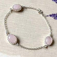 Náramky - Filigree Rose Quartz Silver Bracelet AG925 / Strieborný náramok ruženín - 11609792_