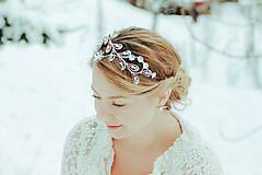 Ozdoby do vlasov - Postriebrená čelenka s krištáľmi, jadeitmi a tigrím okom - Devanka - 11610789_
