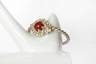 Prstene - točený prsteň s karneolom v.49 / Ag 925 - 11612719_