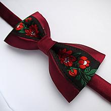 Doplnky - folkový motýlik bordový - 11611727_