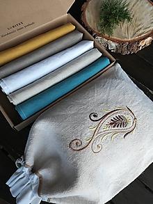 Úžitkový textil - Darčeková sada ľanových kuchynských doplnkov - 11610040_