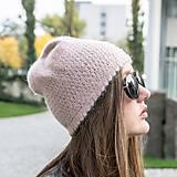 Ružová pletená čiapka - 100% alpaka