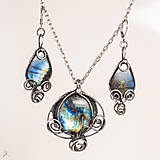 Sady šperkov - SADA - cínovaný prívesok + náušnice - labradorit -výhodná cena - 11612418_