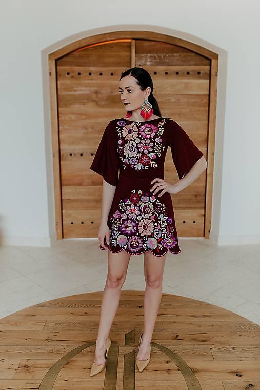 bordové mini šaty Poľana