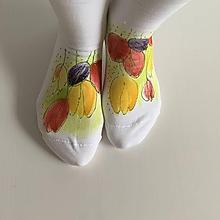 Obuv - Maľované kvetinkové ponožky (Tulipánové 3) - 11611478_