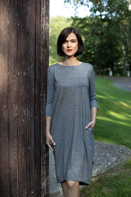 Šaty - Voľné šaty 3/4 rukáv bambusové tmavo-šedý melír - 11610777_